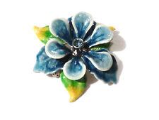 Bijou alliage doré  broche tendance fleur bleue émail et strass  brooch