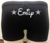 Personalised LYCRA Black Dance Gym Gymnastic Shorts Glitter Text DISNEY font
