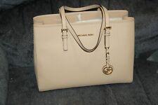 NWT MICHAEL Michael Kors Leather Jet Set Travel Large EW Tote Handbag LUGGAGE