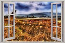 Cheap 3D Window view over the fields Wall Sticker Film Mural Art Decal 35