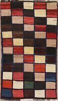 "Checked Color-full Gabbeh Qashqai Persian Modern Oriental Wool Rug 4' 3"" x 2' 8"""