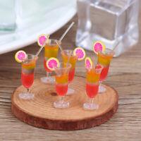 6Pcs 1:12 Dollhouse Miniature Drink Juice Cups Dolls Kitchen Food Accessories YK