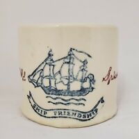 *OLD SPICE HULL POTTERY 1949 SHAVING MUG, ORIGINAL SCRIPT TYPE SHIP FRIENDSHIP*