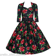 aa5fd408d82 Vintage 1950s Black and Red Roses Retro Rockabilly Party Prom Dress UK 8 -  20