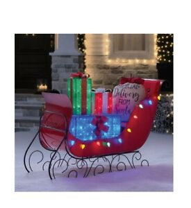 """Pre-Lit LED Christmas Holiday Lighted Vintage 54"""" Vintage Sleigh with Presents"""