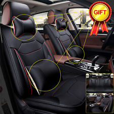 US 5-Seats Car SUV Seat Cover Microfiber Leather Front + Rear + Pillow Size L BK