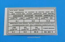 FERRARI 308 (F106 AE ENGINE) EXHAUST EMMISIONS STANDARDS DECAL STICKER 106 x 64
