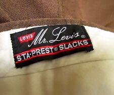 34x30 FIT True Vtg 70s Mens BROWN MR. LEVIS RELIC THIN POLYESTER PANTS SLACKS