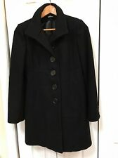 BEBE XS Wool Blend Fitted Winter Coat Black Pleated Back