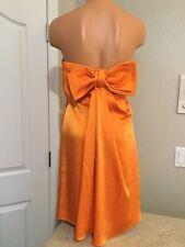 BCBG MAXAZRIA Orange Satin Strapless Cocktail Dress. Big Bow On Back. Sz 4. NEW.