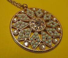 Necklace Gold Tone Pendant w/ chain Rhinestones & Mint green cabochons Costume