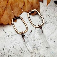 Charm Fashion Natural Long Ear Geometric Vintage Jewelry Earrings Stone Women