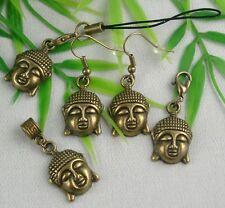 Charm Anhänger BUDDHA KOPF Bronze Öse, Karabinerhaken, Handyanhänger, Ohrringe