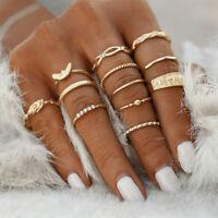 Midi Finger Women simple Knuckle Rings 12Pcs/Set Gold Boho Fashion Jewelry