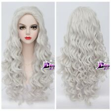 80CM Silver White Long Curly Lolita Anime Cosplay Wig Synthetic + Free cap