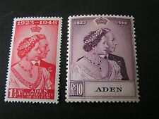 *ADEN, SCOTT # 30/31(2), COMPLETE SET 1949 SILVER WEDDING 10 Rupees ISSUE MNH