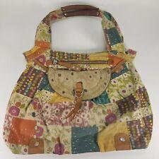 Fossil Patchwork Floral Hobo Shoulder Bag Purse Magnetic Snap Satchel