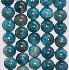 10MM DARK BLUE APATITE GEMSTONE GRADE A ROUND LOOSE BEADS 7.5""
