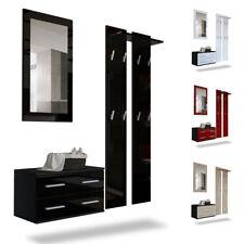 Garderobenset Flur Garderobe Set Spiegel Schuhschrank Kioto Schwarz Hochglanz
