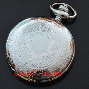 Luxury Silver Roman numerals dial date automatic mechanical pocket watch+chain