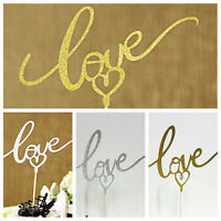 LOVE Cake Topper Sparkle Glitter Gold Wedding Decor Engagement Party DIY TFSU
