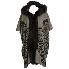 Plus Size Lana Wool Abstract Grey & Black Fur Trim Hooded Waistcoat/Wrap/Coat