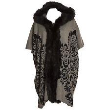 Plus Size Lana Wool Abstract Grey & Black Fur Trim Hooded Waistcoat/Wrap/Coat
