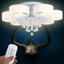 7 Flammig E27 LED Kristall Deckenleuchte Wohnzimmer Kronleuchter Deckenampe RGB