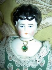 Pretty antique china head doll with imbeded Jeweled necklace by Hertwig, Germany