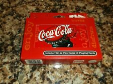 Coke NEW in Coca-Cola Collector's Tin 2 Decks of Bicycle Brand Playing Cards