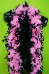 Luxurious Pink Black Tipped Feather Boa 6' Halloween Costume Bachelorette Party