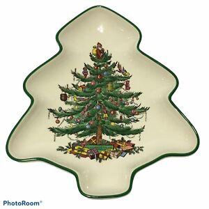 Vintage SPODE CHRISTMAS TREE SHAPED SMALL DISH SERVING CANDY ROYAL CHINA ENGLAND