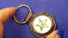 """Eastern Star leather &  glass dome key chain salmon leather 1.25"""" split ring OES"""