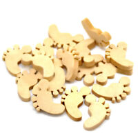 50pcs Cute Feet shapes Laser Wooden Cut MDF Blank Baby Embellishments