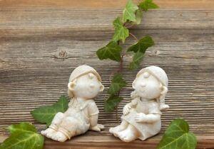 DEKO FIGUR Junge & Mädchen SET Dekofigur Kinder Garten Deko frostfest Geschenk