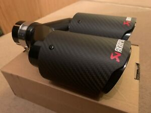 "UNIVERSAL DOUBLE 3.5"" AKRAPOVIC STYLE  CARBON EXHAUST BLACK TIP TAILPIPE STEEL"