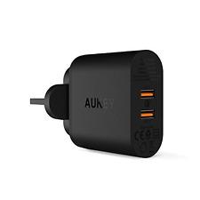Aukey ricarica rapida 3.0 caricatore da muro USB Dual Port 39w per Iphone, LG, iPhone, IP