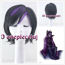 Homestuck Eriden Cosplay Short Hair Full Wig Black With Purple + free wig cap