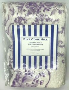 Pine Cone Hill Cottage Toile Lilac Euro Size Pillow Sham