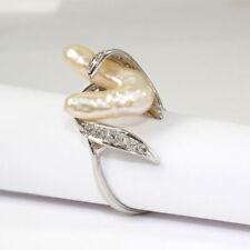 Ringe mit Perlen (18,1 mm Ø) aus Weißgold echten Innenvolumen