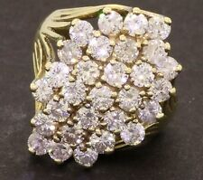 HUGE 2.90 CARAT DIAMOND CLUSTER 10K YELLOW GOLD OVER 925 SILVER COCKTAIL RING