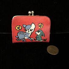 Child's Miniature Red Kiss Lock Doll Wallet Purse Bambi & Thumper