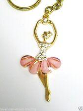 PINK CYRSTAL RHINESTONE BALLERINA GOLD KEYRING/Keychain/bag charm/ballet dancer