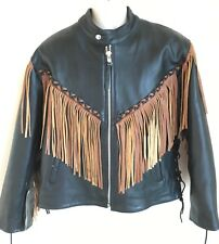 5 Heads Lined Leather Motorcycle Fringe Jacket Mens Size M Womens Size L, XL NWT