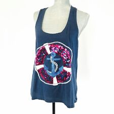 Juicy Couture LARGE Blue Knit Tank Top Sequined Nautical Yacht Club Cruise Beach