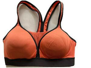 New Coral Orange Gray Champion C9 Duo Dry Athletic Sports Bra Size S