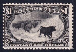 US STAMP #292 1898 $1 Trans-Mississippi Exposition Cattle in Snowstorm MH/OG
