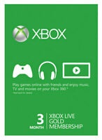 Microsoft Xbox Live 3-Month Gold - 25 Digits Card send via Mail