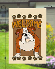 Bulldog Welcome Dog Garden Banner Flag 11x14 to 12x18 Pet Yard Decor