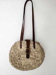 Vintage Straw Woven basket wicker Shoulder Bag leather straps Festival